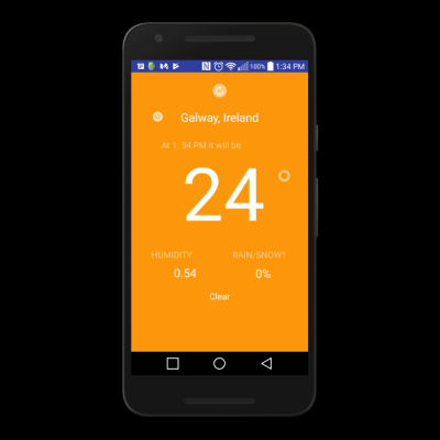 A image of a Android Weather App